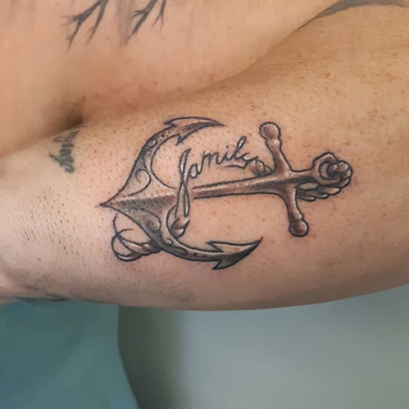 Cute Little Anchor — Clay Walker Tattoo