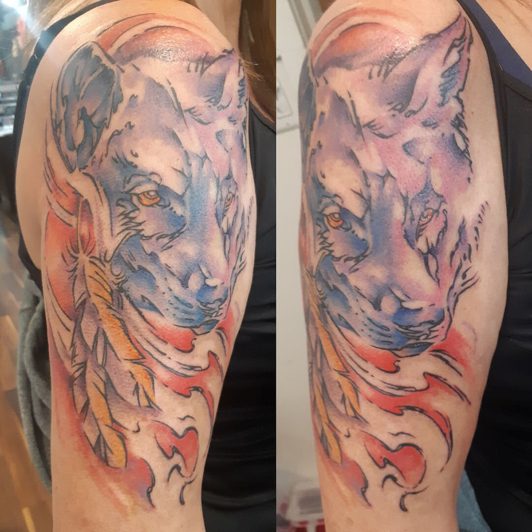 Watercolour Wolf — Clay Walker Tattoo