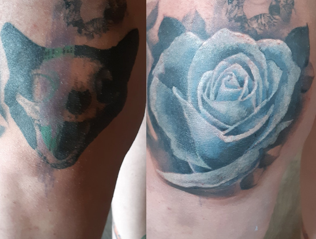 Blue Rose Coverup — Clay Walker Tattoo