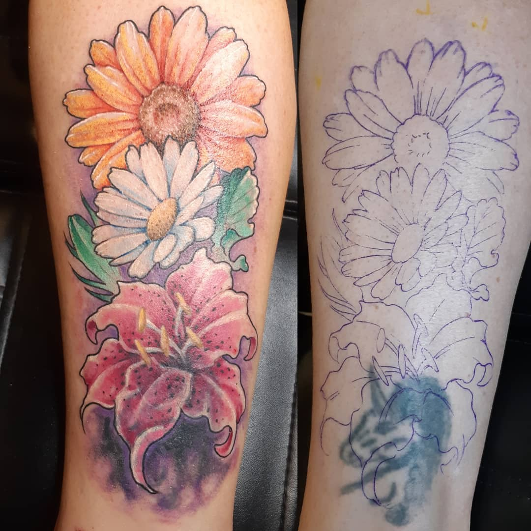 Coverup Flowers — Clay Walker Tattoo